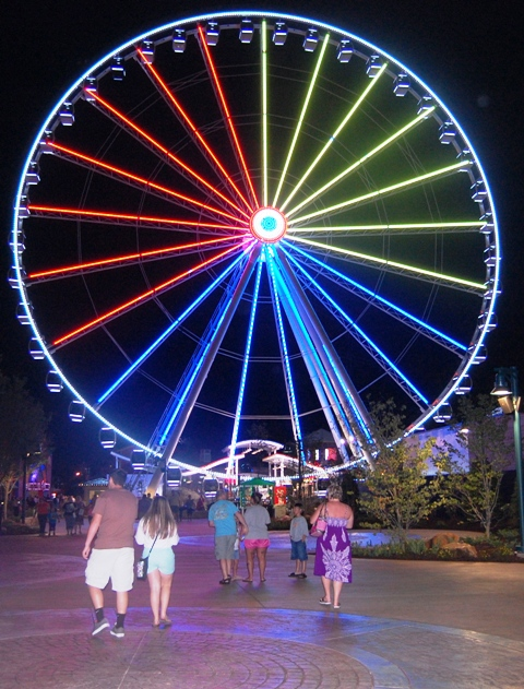 The Island's Great Smoky Mountain Wheel at Night