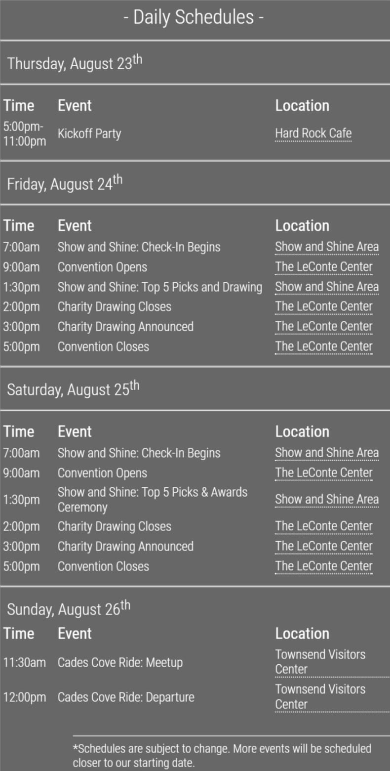 2018 Great Smoky Mountain Jeep Invasion Schedule