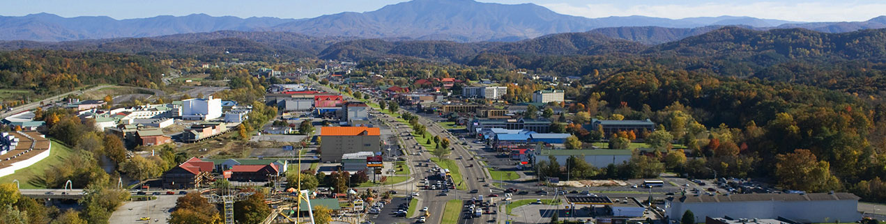 View of Pigeon Forge Parkway and Smoky Mountains