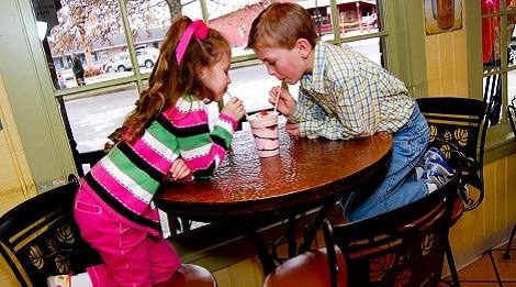 kids drinking milkshake at the old mill creamery pigeon forge tn