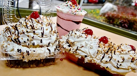 banana nut split at the old mill creamery pigeon forge