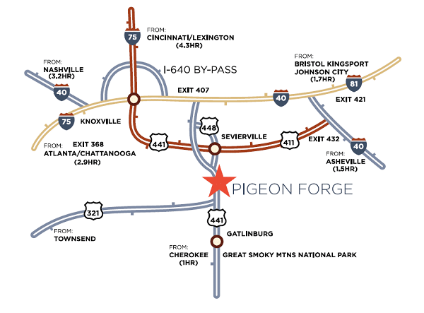 Pigeon Forge Highways and Interstates Map - Getting to Pigeon Forge