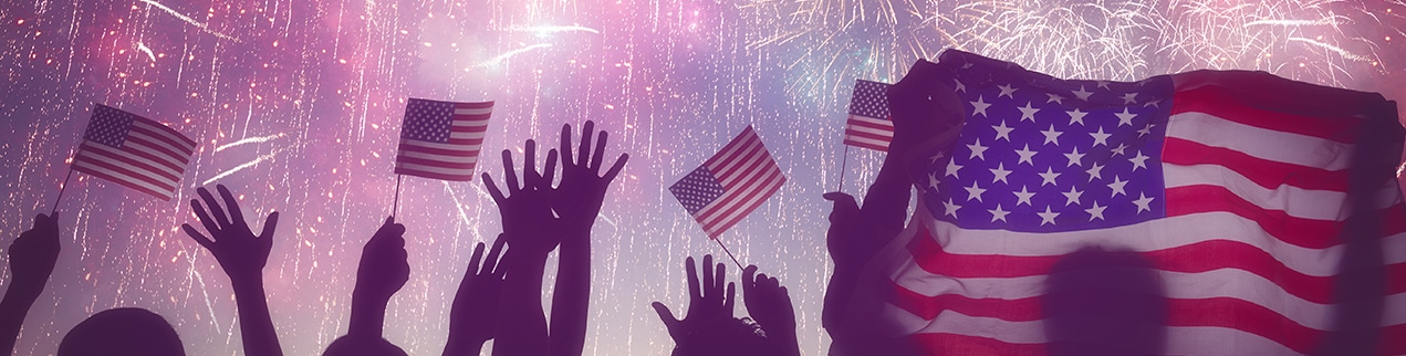 American flags and fireworks