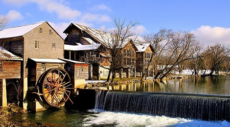 Old Mill during Winter in Pigeon Forge