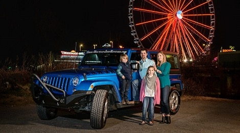 family in pigeon forge by smoky mountain jeep rental jeep