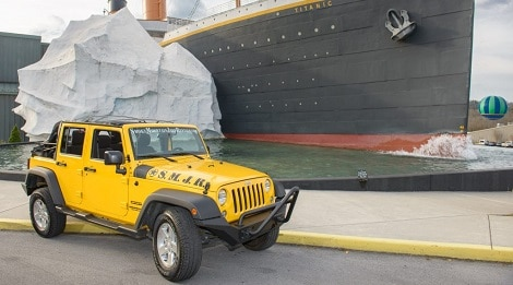 yellow jeep by titanic in pigeon forge tn
