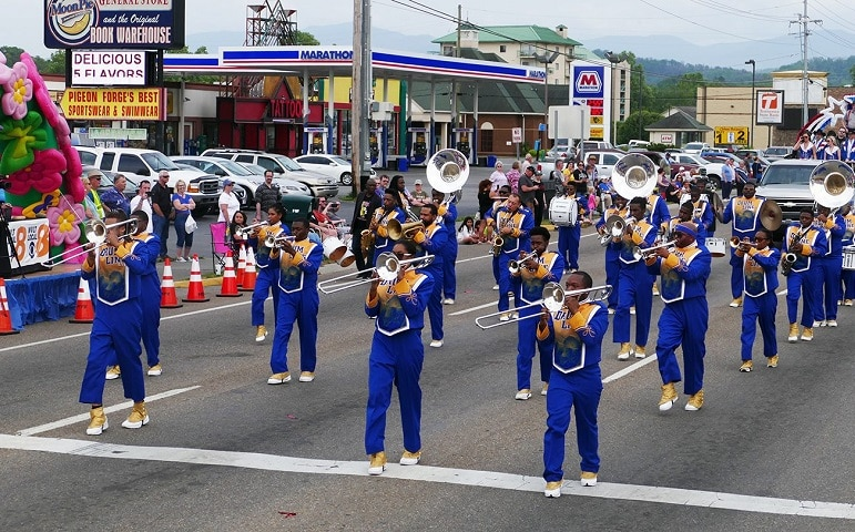 Band Marching at Music in the Mountains Spring Parade