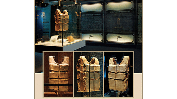 Titanic life jacket display at the Titanic attraction in Pigeon Forge