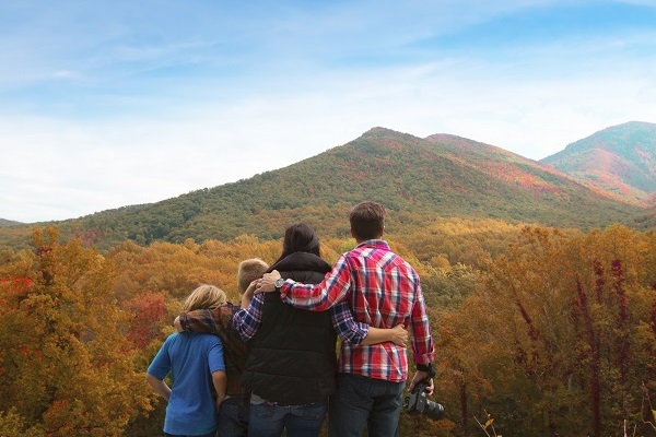 Family Enjoying the Fall Colors in Pigeon Forge and the Smoky Mountains