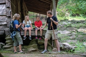 Family Exploring Great Smoky Mountains National Park
