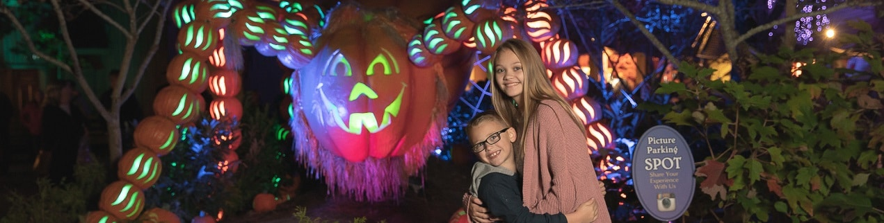 Kids Posing with Spider at Dollywood's Great Pumpkin Luminights