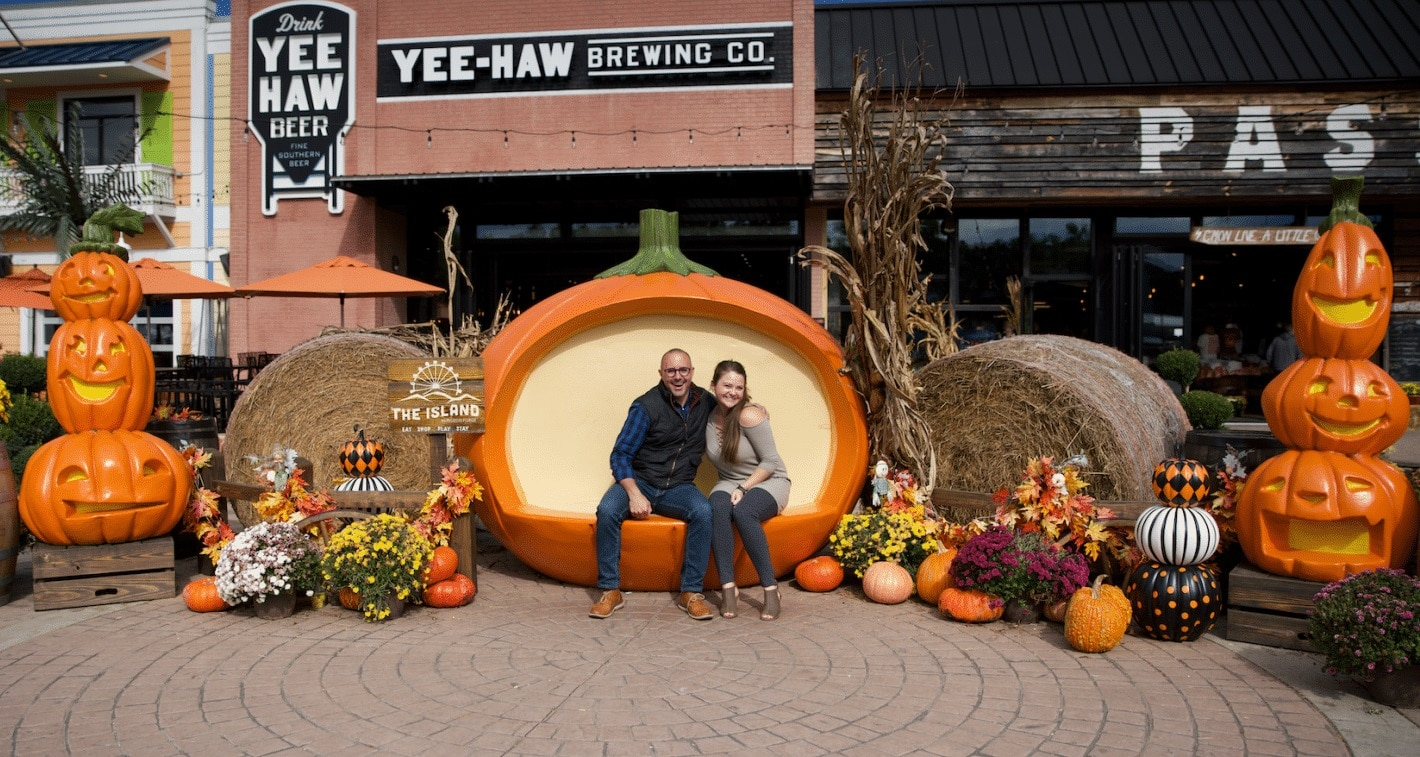 Couple Enjoying Fall Activities at The Island in Pigeon Forge