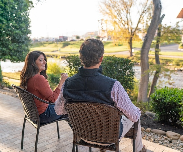 Couple Enjoying the View at The Inn on The River in Pigeon Forge, TN