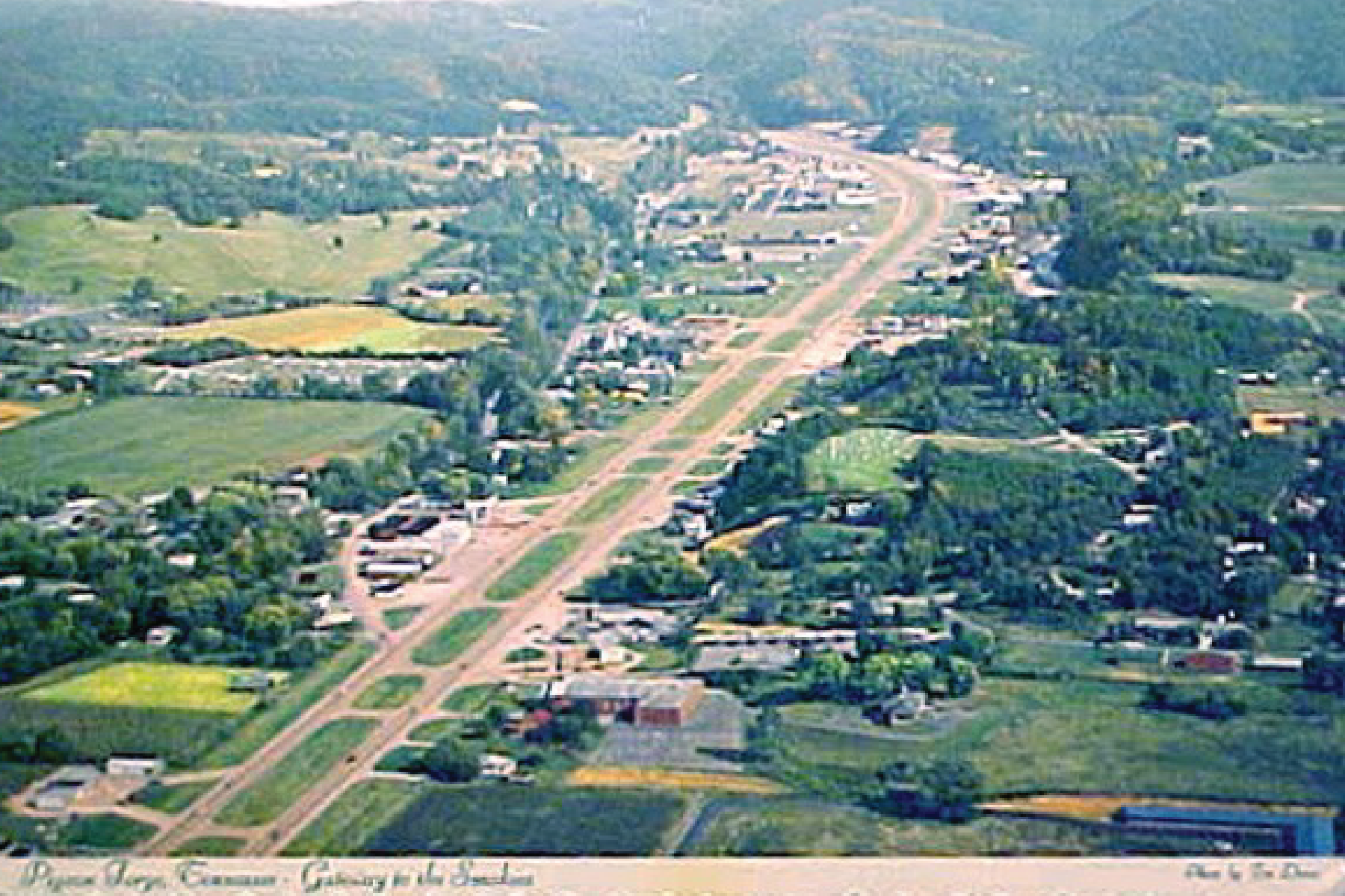 Aerial photograph of Pigeon Forge, Tennessee.