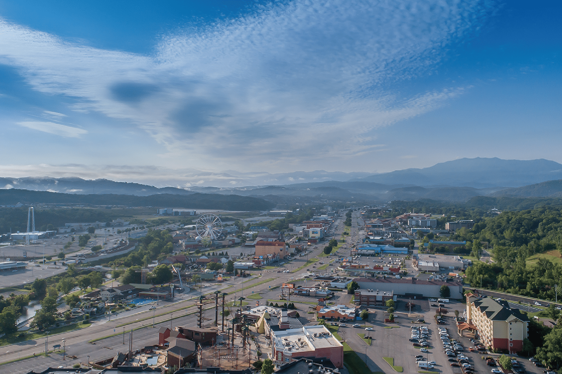 Pigeon Forge Tennesse from an aerial view in 2020.