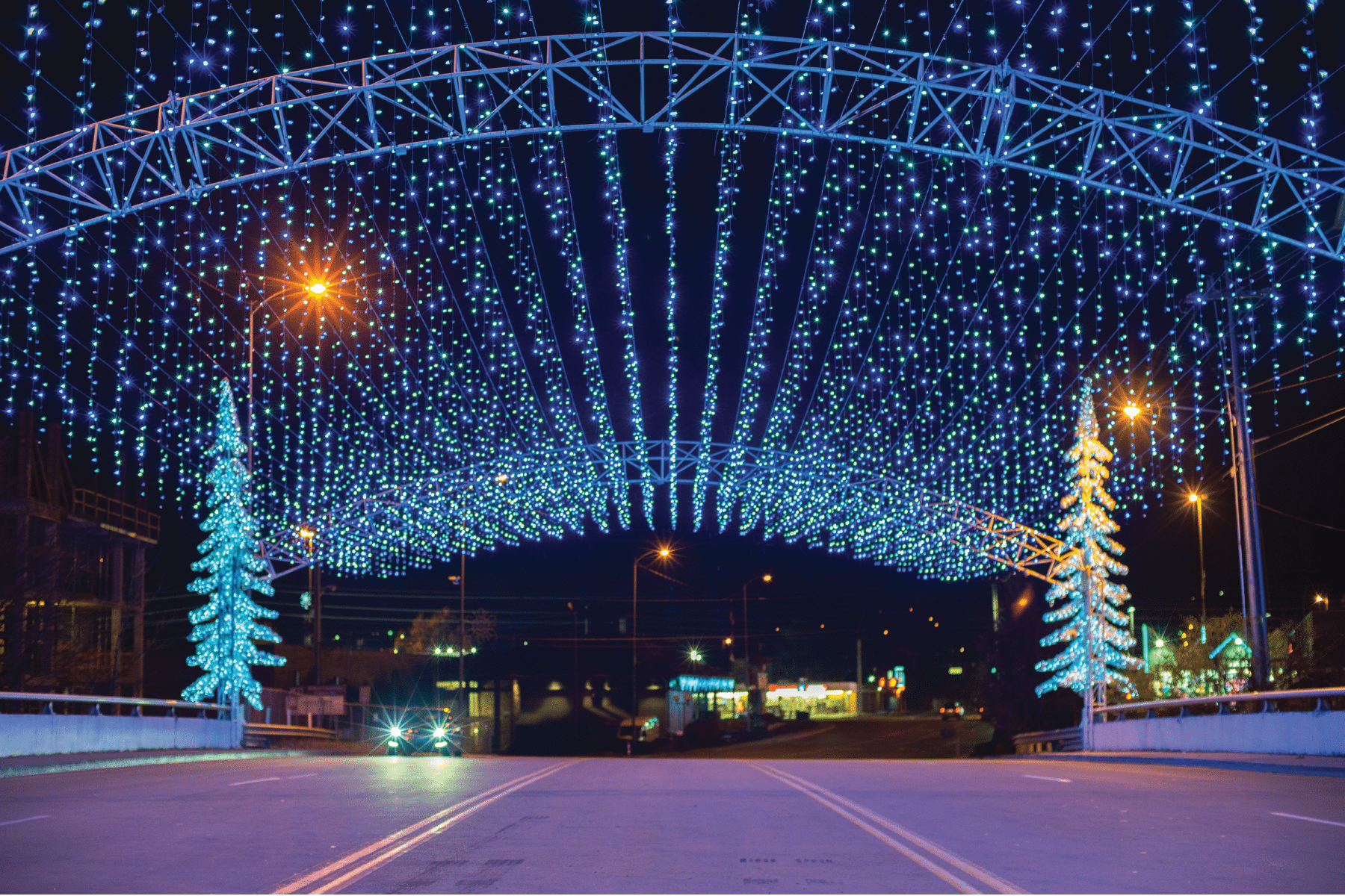 Winterfest lights over the bridge in Pigeon Forge.