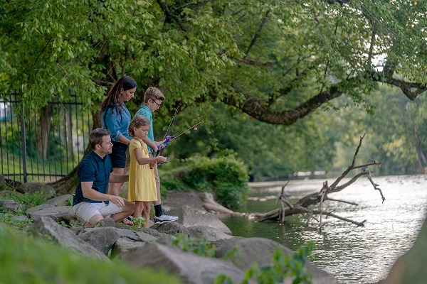 Family fishing on the Little Pigeon River