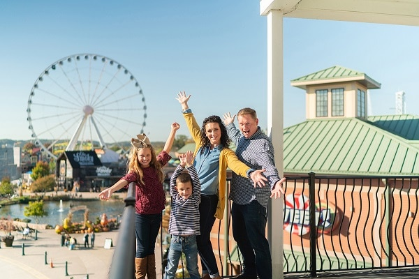 Take family photos at The Island in Pigeon Forge during spring break