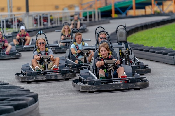 Ride go-karts during spring break in Pigeon Forge
