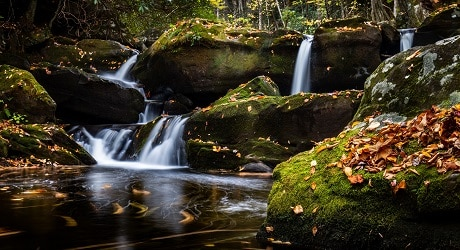 Autumn waterfalls along Middle Prong Trail - Upper Tremont Road in GSMNP