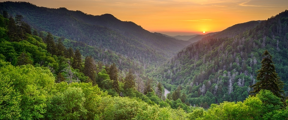 Sunset at Newfound Gap Road in Great Smoky Mountains National Park